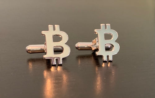 Bitcoin Cufflinks In 925 Sterling Silver