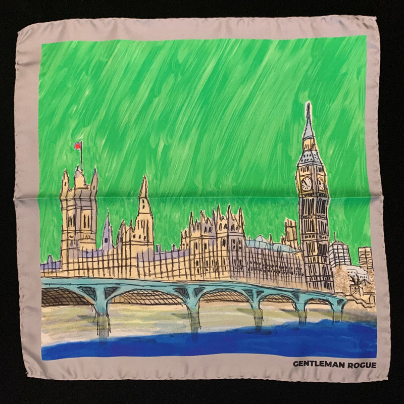 Sketch of the houses of Parliament against a green sky with a silver border