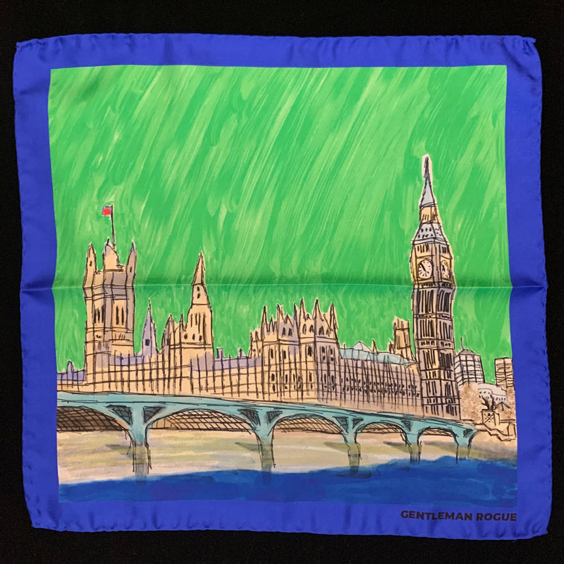 London - Palace of Westminster Blue Pocket Square