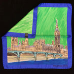 Sketch of the houses of Parliament against a green sky with a blue border