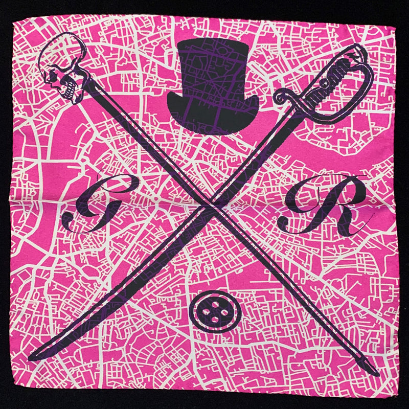 Pocket square with vector image of London city map in pink with Gentleman Rogue logo superimposed on top