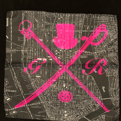 Black and white vector map of New York city with the Gentleman Rogue logo superimposed on it in hot pink