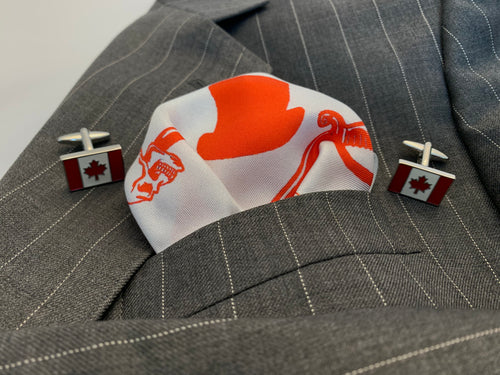 Canada red and white enamel cufflinks