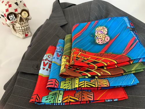 High Roller Blue Pocket Square