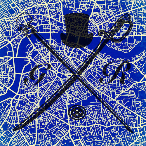 Pocket square with vector image of London city map in blue with Gentleman Rogue logo superimposed on top