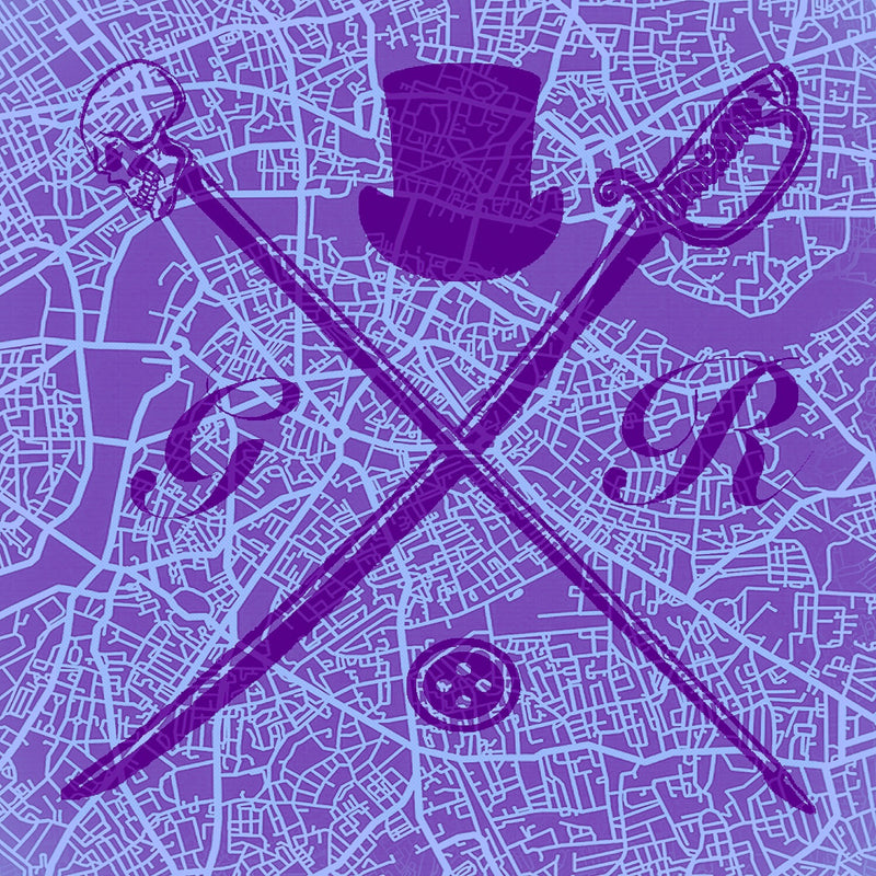 London Street Map Purple Ladies Scarf
