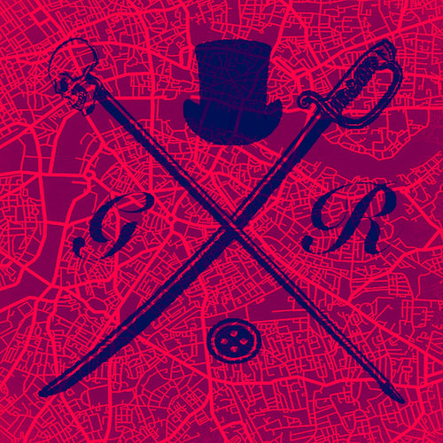 Pocket square with vector image of London city map in red with Gentleman Rogue logo superimposed on top