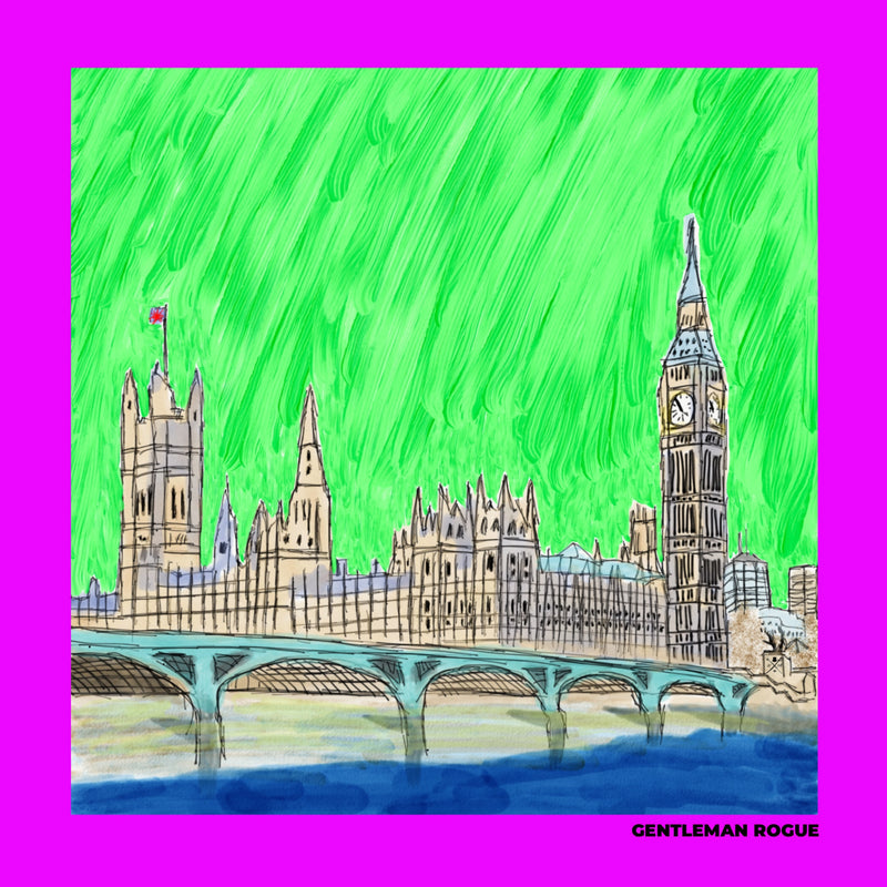 London - Palace of Westminster Magenta Ladies Scarf