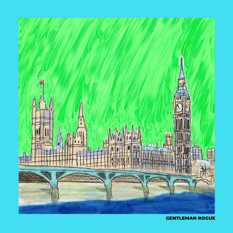 London - Palace of Westminster Sky Blue Ladies Scarf