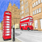 Hand drawn sketch of red London phone booth and red double decker bus with sandstone buildings and blue sky