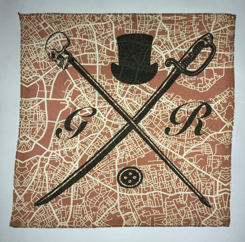 Pocket square with vector image of London city map in dusty pink with Gentleman Rogue logo superimposed on top
