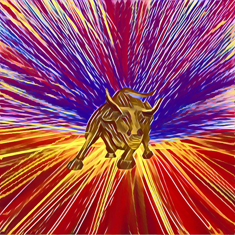 Image of bronze Wall Street bull on background of red, gold, indigo and purple starburst