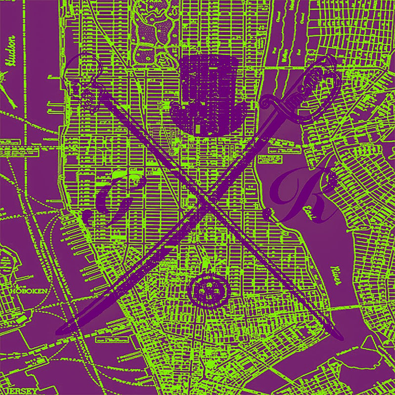 New York Street Map Green Ladies Scarf