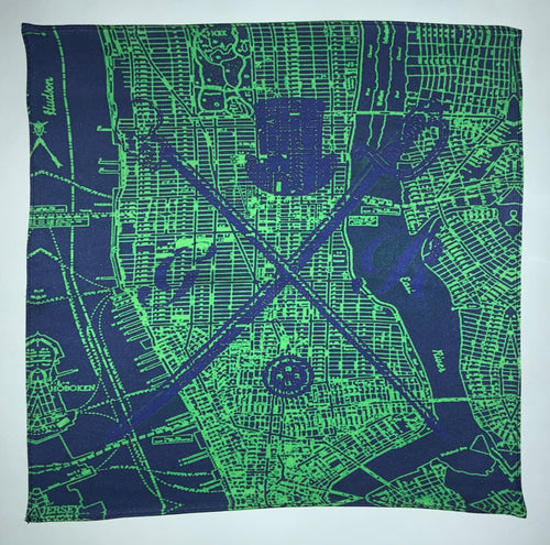New York city vector map in mint with the Gentleman Rogue logo superimposed on top