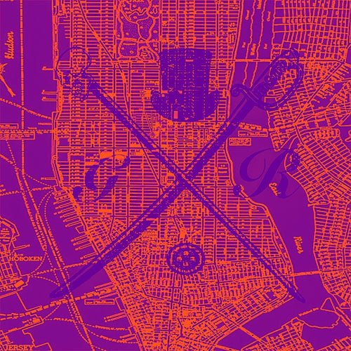 Vector map of New York in orange and purple with the Gentleman Rogue logo superimposed on it in purple