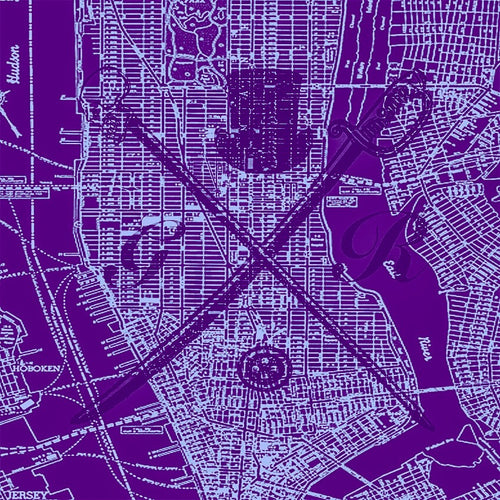 New York city vector map in purple with the Gentleman Rogue logo superimposed on top