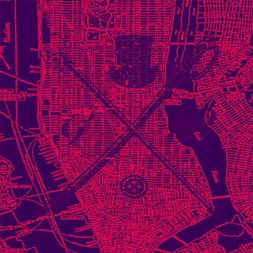 New York city vector map in red with the Gentleman Rogue logo superimposed on top