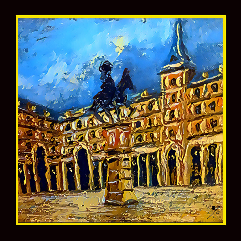 Pocket square with an image of the Plaza Mayor in Madrid with buildings in background and horse statue on pedestal in foreground in blue, black, brown and gold.