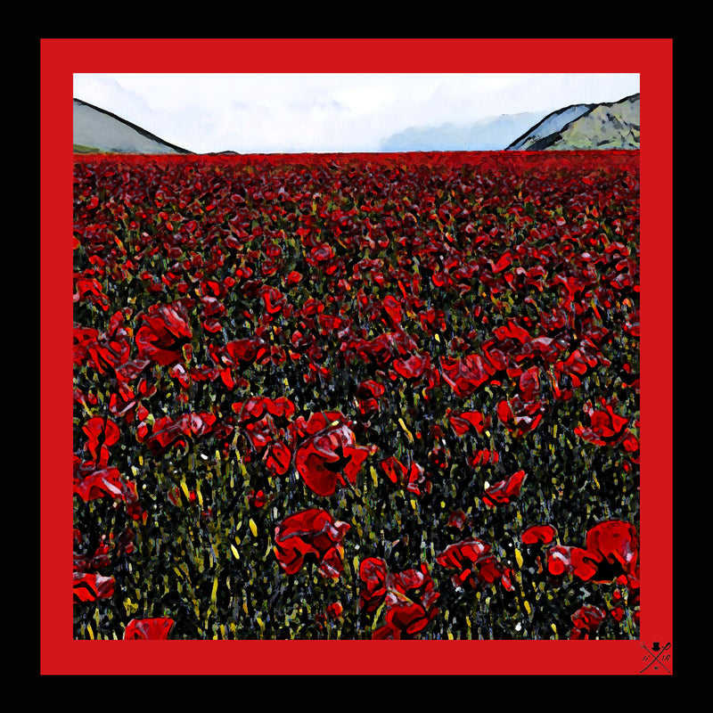 Ladies scarf with a field of red poppies