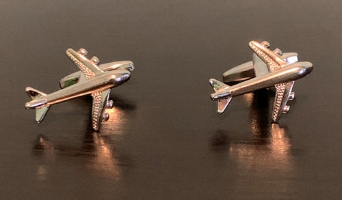 Silver jumbo jet airplane cufflinks