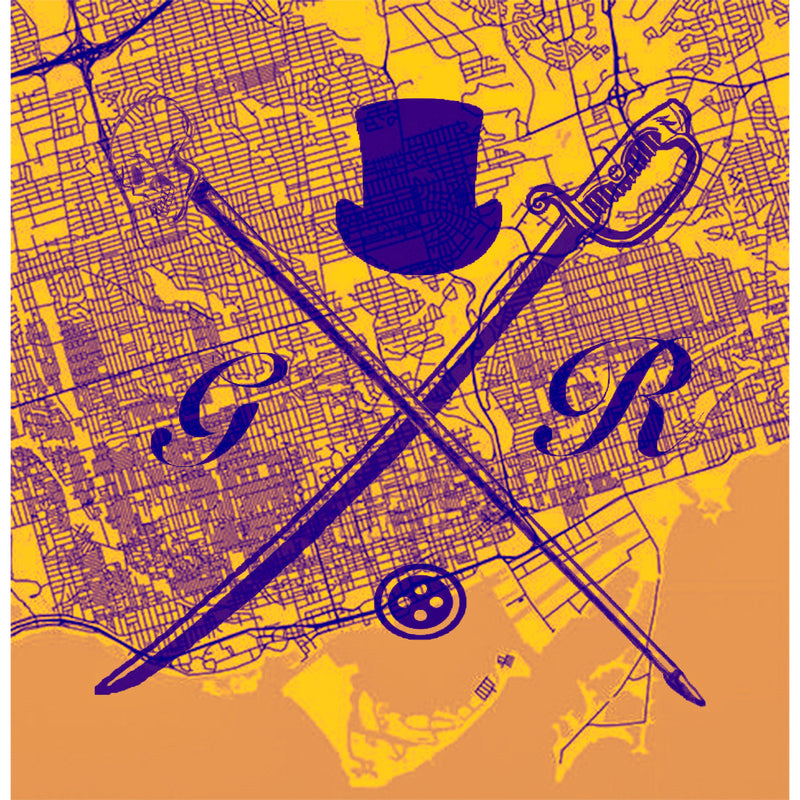 Vector map of Toronto in gold with the Gentleman Rogue logo superimposed on it in purple