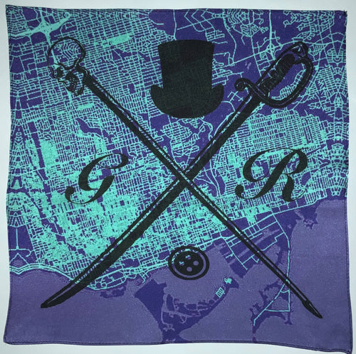 Pocket square with vector image of London city map in aqua and purple with Gentleman Rogue logo superimposed on top