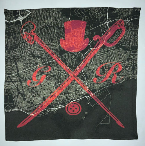 Black and white vector map of Toronto with the Gentleman Rogue logo superimposed on top of it