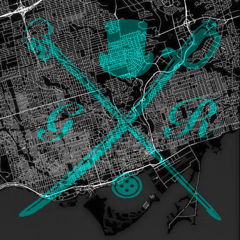Toronto Street Map Bold Teal Ladies Scarf