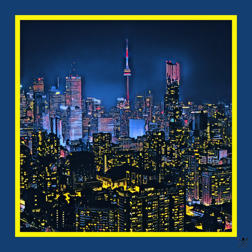 Ladies scarf with an image of the Toronto skyline at night in shades of blue, pink and gold