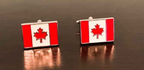 Canada flag red and white enamel cufflinks