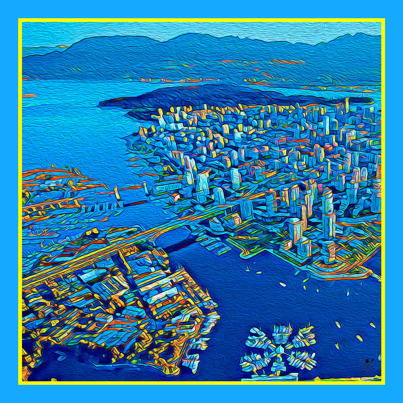 Ladies scarf with an image of the Vancouver skyline in blue, orange and gold