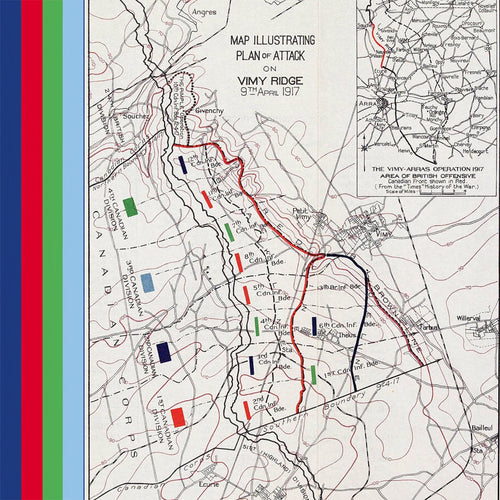 Map of Vimy Ridge battle plan silk pocket square