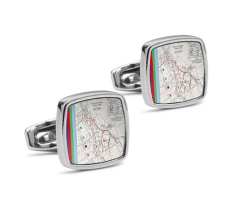 Cufflinks with the Vimy Ridge battle plan and navy, red, green and light blue stripes on the left side in a rounded edge square shape