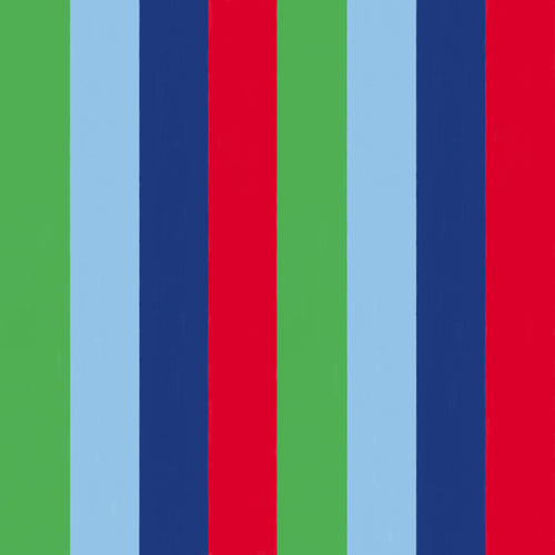 Vertical wide colour bands of green, light blue, navy blue and red