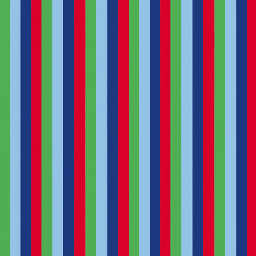 Vertical narrow colour bands of green, light blue, navy blue and red