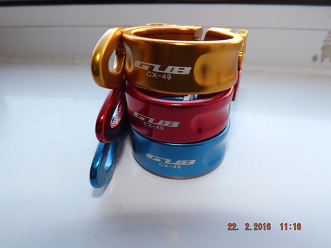 GUB ANODISED QUICK RELEASE SEATCLAMP 34.9MM RED BLUE GOLD MTB DH XC