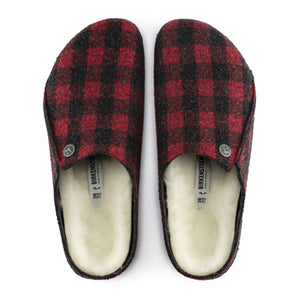 Birkenstock Zermatt Shearling (Women) - Red Plaid/Natural Dress/Casual|Slippers - The Heel Shoe Fitters