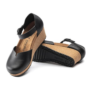 Birkenstock Mary (Women) - Black Leather Sandals|Wedge Sandals - The Heel Shoe Fitters