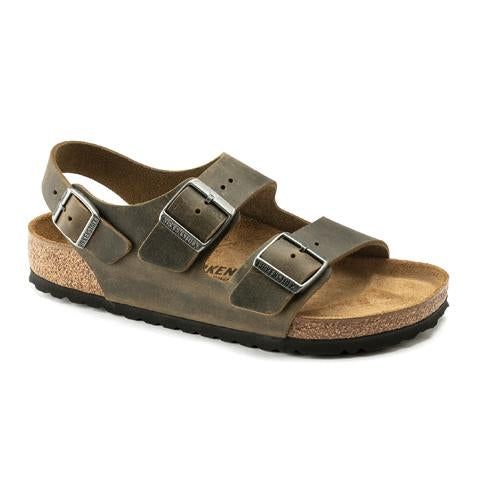 Birkenstock Milano (Men) - Faded Khaki Oiled Leather Sandals|Backstrap Sandals - The Heel Shoe Fitters