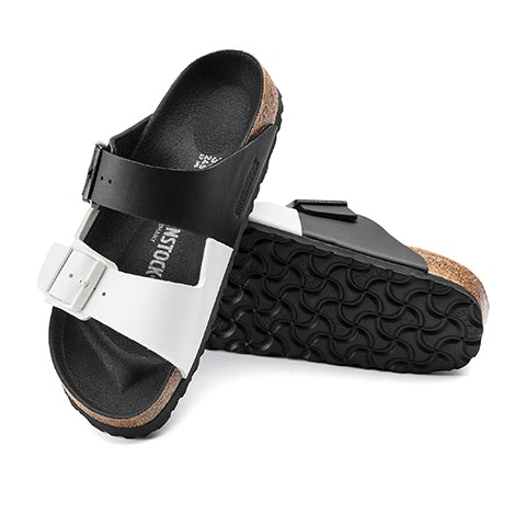 Birkenstock Arizona Split Birko-Flor (Women) - Black/White Sandals|Slide Sandals - The Heel Shoe Fitters