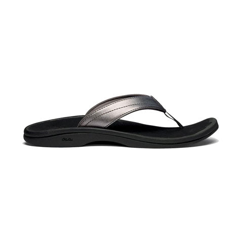 OluKai Ohana (Women) - Pewter/Black Sandals|Thong Sandals - The Heel Shoe Fitters
