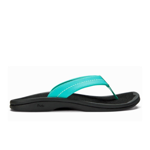 Olukai 'Ohana (Women) - Turquoise/Black Sandals - Thong Sandals - The Heel Shoe Fitters