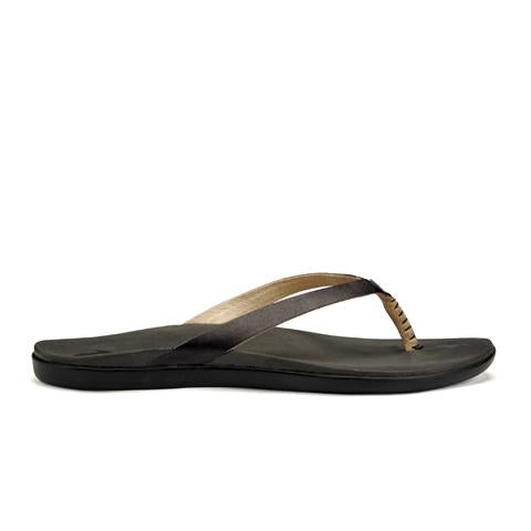 Olukai Ho'Opio Leather (Women) - Onyx/Black Sandals - Thong Sandals - The Heel Shoe Fitters