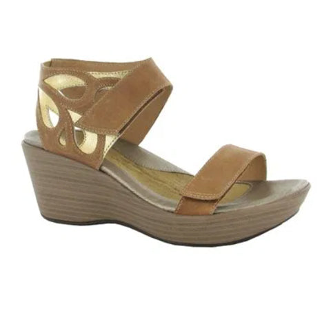 Naot Intrigue (Women) - Latte Brown Leather/Gold Leather