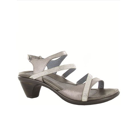 Naot Innovate - Silver Threads Leather/Beige/Clear Rhinestones Sandals|Heeled Sandals - The Heel Shoe Fitters