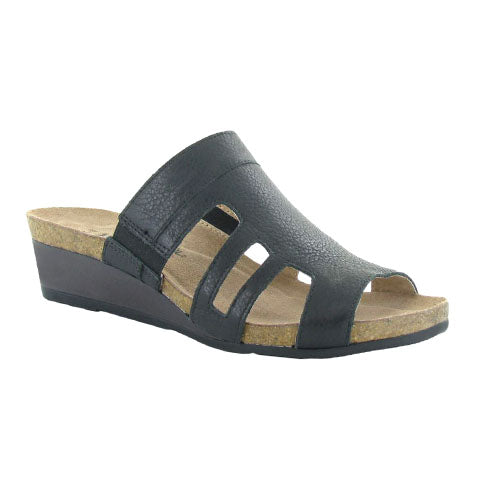 Naot Carriage - Soft Black Leather Sandals|Wedge Sandals - The Heel Shoe Fitters