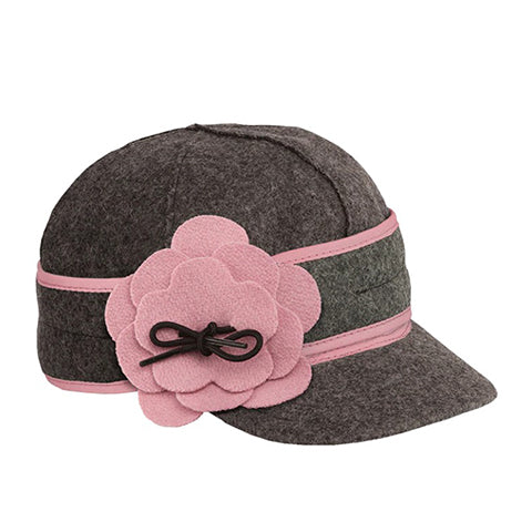 Stormy Kromer Petal Pusher Cap - Charcoal/Pink Outerwear|Headwear|Brimmed Hat - The Heel Shoe Fitters