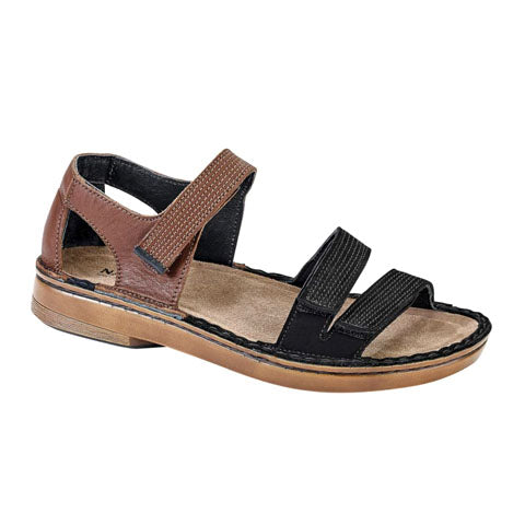 Naot Amarante - Toffee Brown Leather/Black Velvet Sandals|Backstrap Sandals - The Heel Shoe Fitters