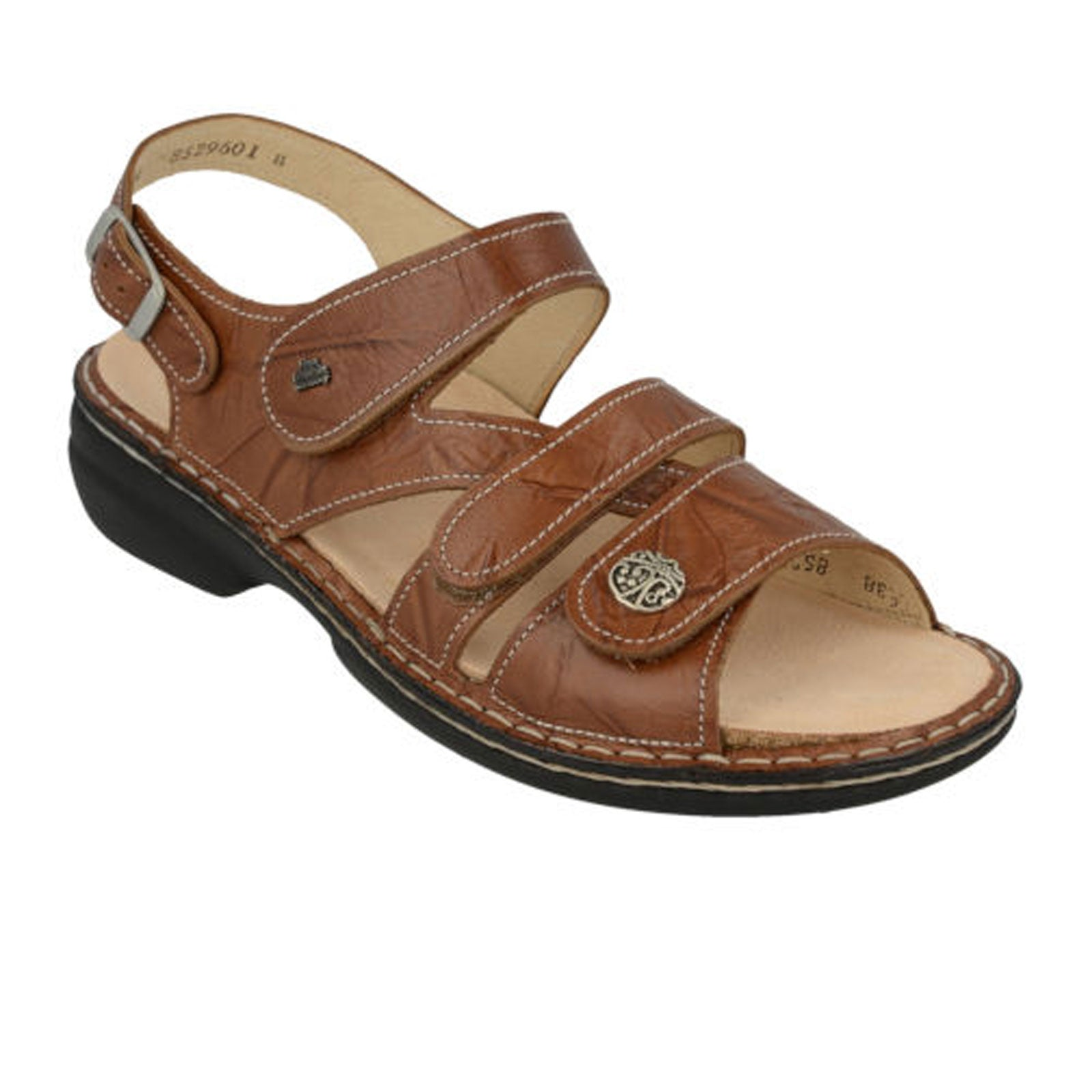 Finn Comfort Gomera-S (Women) - Cognac Sandals|Backstrap Sandals - The Heel Shoe Fitters