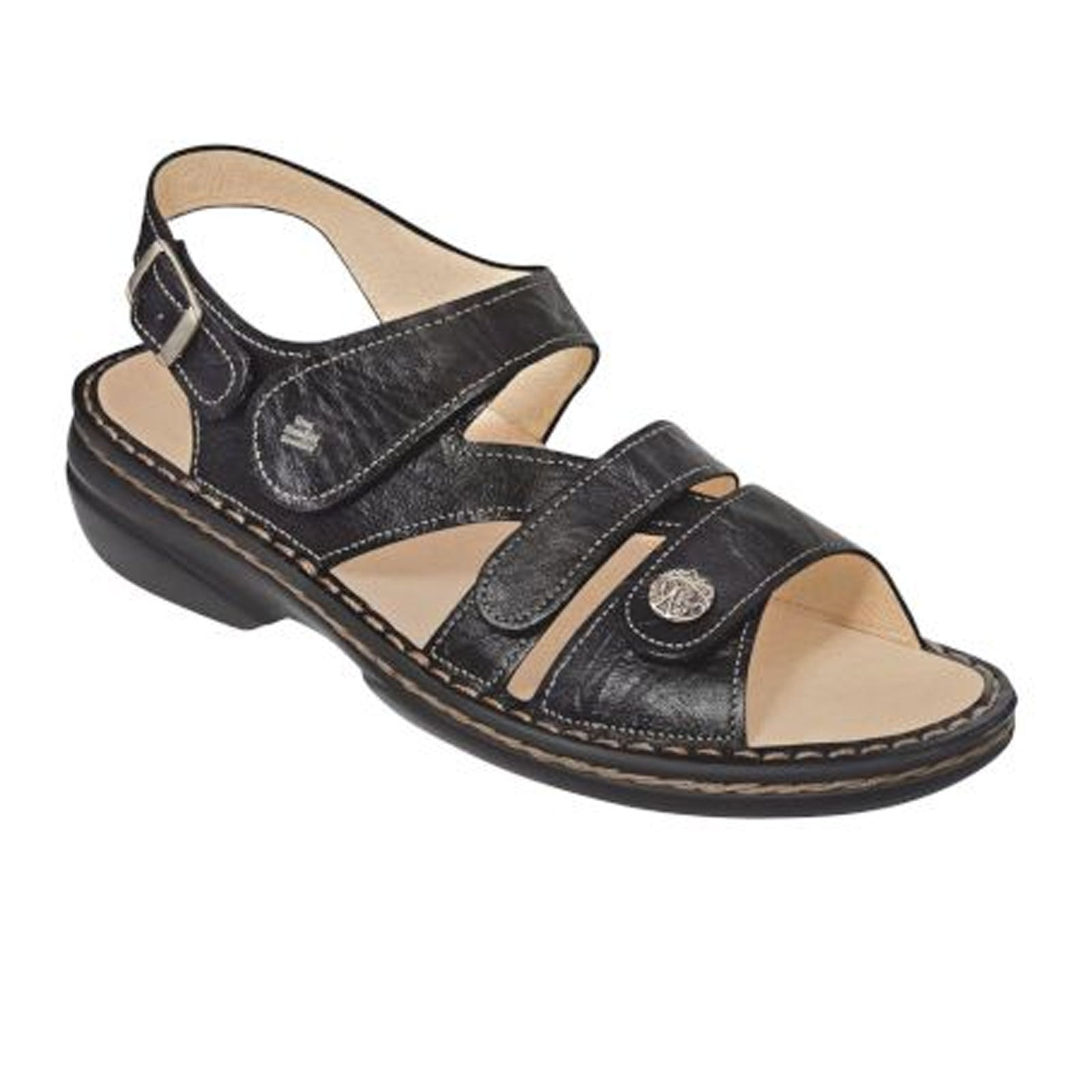 Finn Comfort Gomera-S (Women) - Black Sandals|Backstrap Sandals - The Heel Shoe Fitters